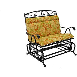 All-Weather Yellow Paisley Outdoor Double Glider Chair Cushion