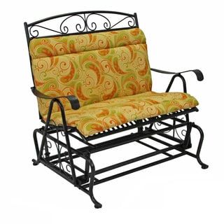 Blazing Needles Tropical/ Stripe All-weather Outdoor Double Glider Chair Cushion