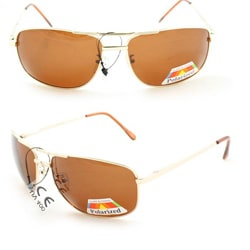 Men's 7837P Gold and Brown Polarized Wrap Sunglasses