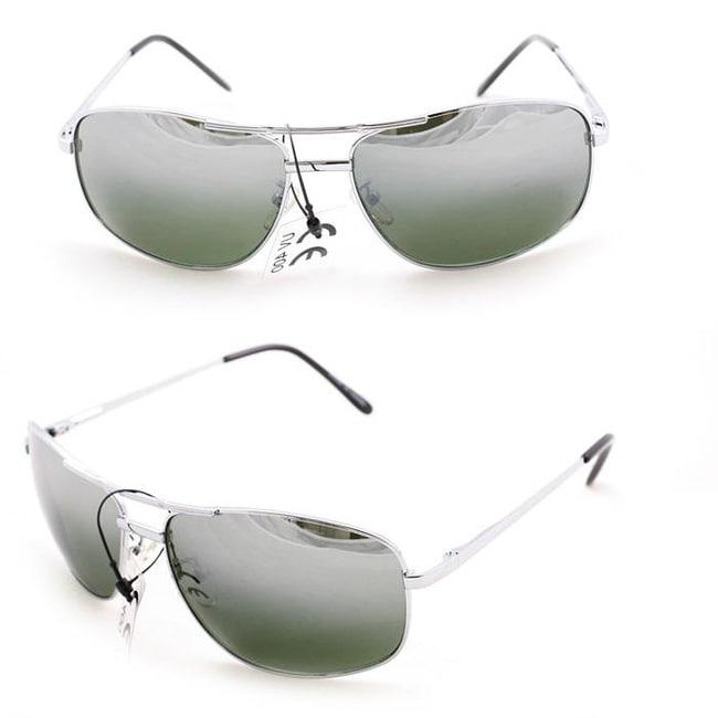 Men's 7837 Silver and Smoke Wrap Sunglasses