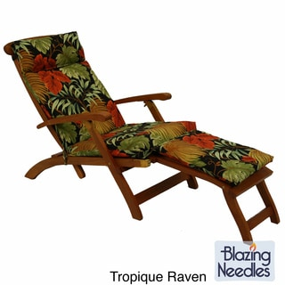 Blazing Needles Tropical/ Stripe All-weather Outdoor Steamer Deck Lounger Cushion