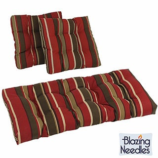 Blazing Needles Set of 3 All-weather UV-resistant Squared Outdoor Settee Group Cushions