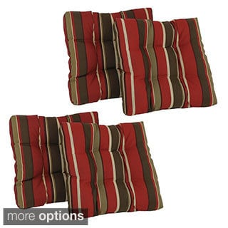 Blazing Needles Set of 4 All-weather UV-resistant Squared Outdoor Chair Cushions