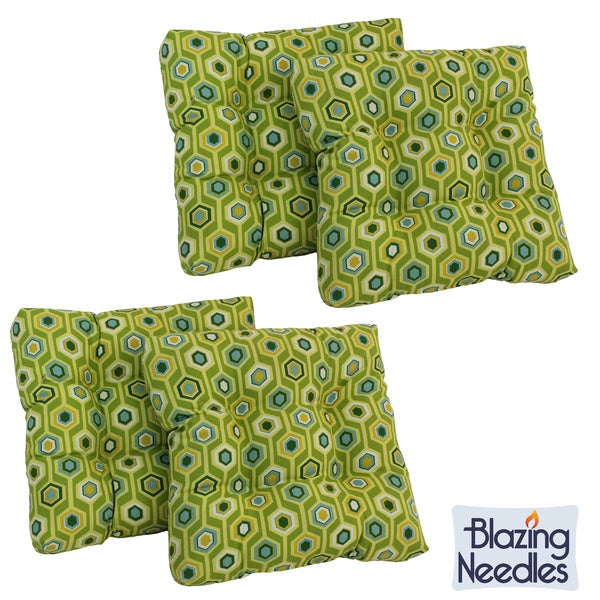 Blazing Needles All-weather Square Outdoor Chair Cushions (Set of 4)