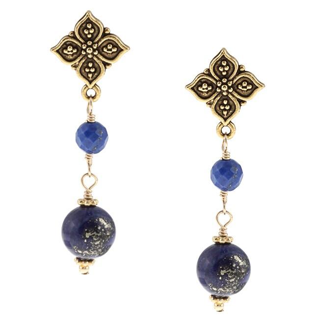 Charming Life Goldtone Decorative Blue Lapis Post Earrings