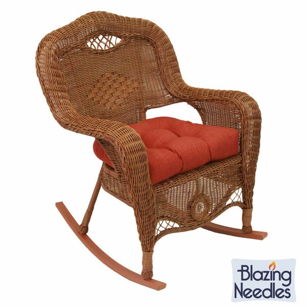 blazing needles all weather u shaped outdoor rocker chair cushion