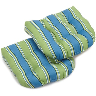 Blazing Needles Colorful Patterned All-weather U-shaped Outdoor Chair Cushions (Set of 2)