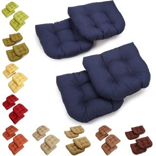 All-Weather U-Shaped Tufted Outdoor Chair Cushions (Set of 4)