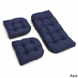All-weather U-shaped Acrylic Outdoor 3-piece Settee Bench Cushion Set
