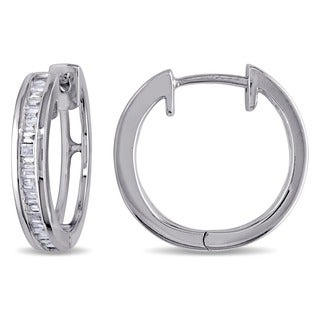 Haylee Jewels Sterling Silver 1/3ct TDW Baguette Cut Diamond Hoop Earrings