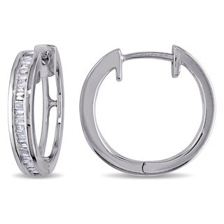 Sterling Silver 1/3ct TDW Baguette Cut Diamond Hoop Earrings