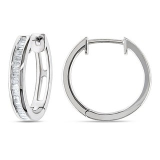 Miadora Sterling Silver 1/3ct TDW Baguette Cut Diamond Hoop Earrings