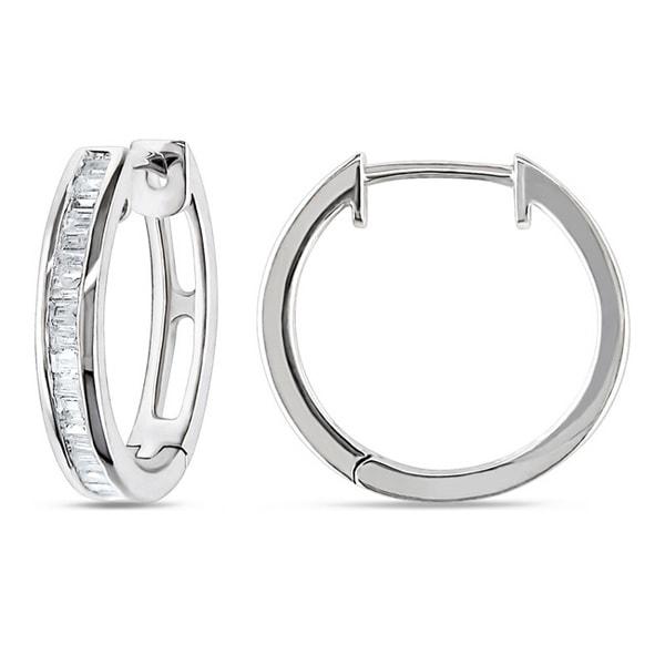 Sterling Silver 1/3ct TDW Baguette Cut Diamond Hoop Earrings