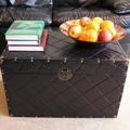 Black Faux Leather Wood Steamer Trunks (Set of 2)
