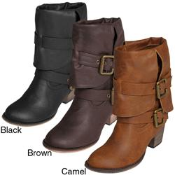 Journee Women's 'Gossip-2' Buckle Accent Mid-calf Boots