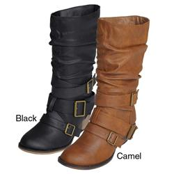Journee Women's 'Gossip-5' Buckle Accent Mid-calf Boots