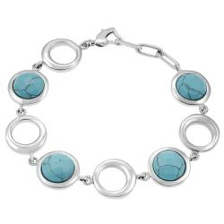 Stainless Steel Turquoise-colored Glass Round Link Bracelet