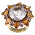 18k Gold Amethyst, Tourmaline and Citrine Estate Cocktail Ring