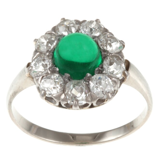 Pre-owned 18k Gold Emerald and 1 1/10ct TDW Diamond Antique Ring (G-H, VS1-VS2)