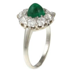 18k Gold Emerald and 1 1/10ct TDW Diamond Antique Ring (G-H, VS1-VS2)