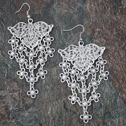 Silverplated Pewter Floral Lattice Dangle Earrings (Turkey)