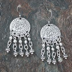 Silverplated Pewter Chandelier Dangle Earrings (Turkey)