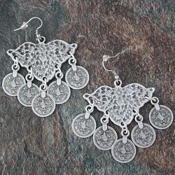 Silverplated Pewter Open Wings Coin Dangle Earrings (Turkey)