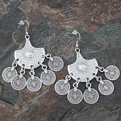 Silverplated Pewter Ottoman Coins Fan Dangle Earrings (Turkey)