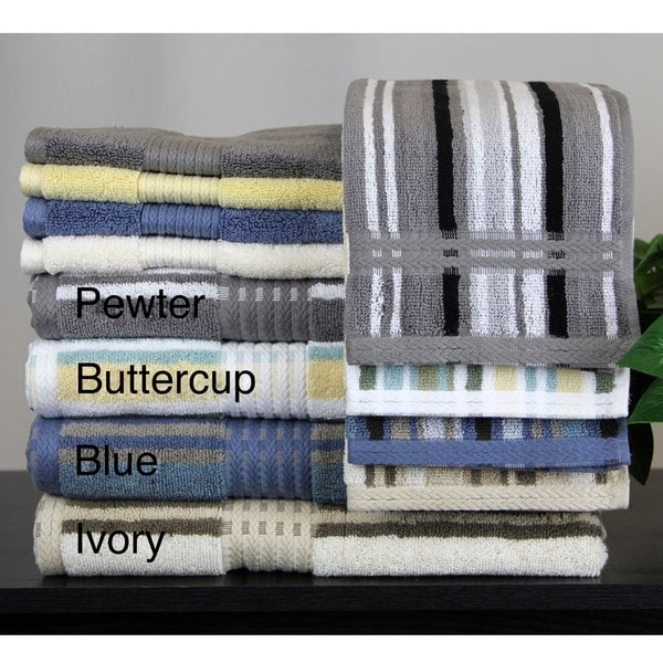 Egyptian Cotton Solid and Striped 6-piece Towel Set