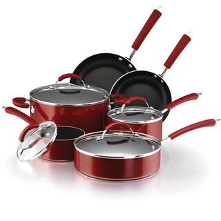 Farberware Millennium 12-piece Non-stick Red Porcelain Cookware Set