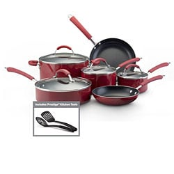 Farberware Millennium 12-piece Set Porcelain Nonstick Cookware, Red