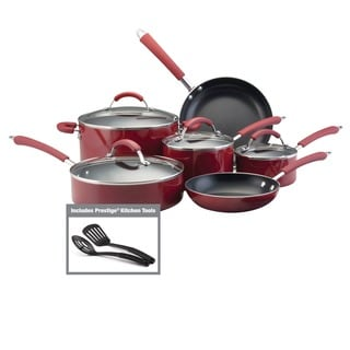 Farberware Millennium 12-piece Non-stick Red Porcelain Cookware Set
