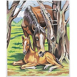 Color By Number 9x12-inch Horse and Foal Kit
