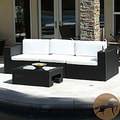 Christopher Knight Home Madrid 4-piece Outdoor Wicker Sofa and Glass Top Table Set