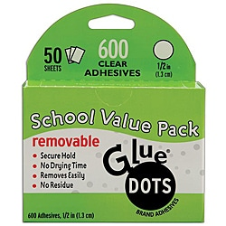 Glue Dots School Value Pack 0.5-inch Removable Dots (Case of 50 sheets)