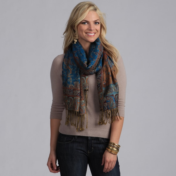 Women's Teal Paisley Viscose Wrap