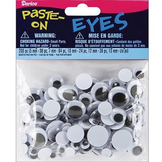 Darice Assorted Size Paste-on 5 to 15mm Black Wiggle Eyes (200/Pkg)