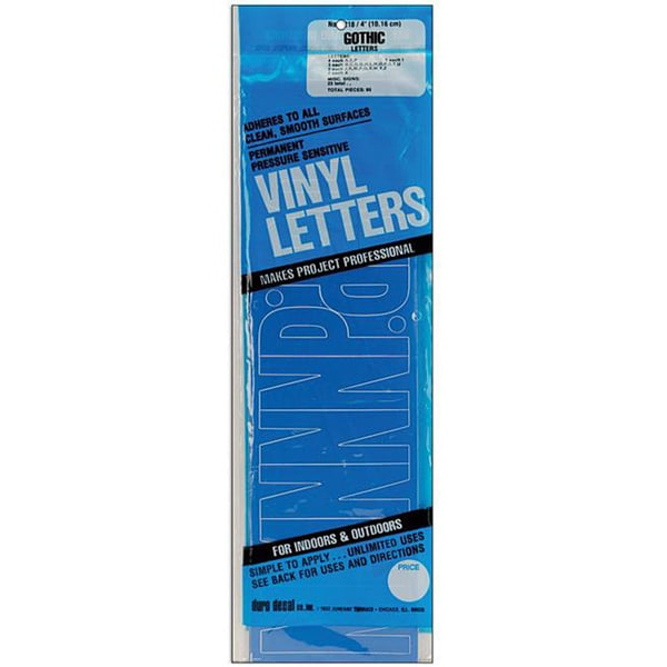 Gothic Blue 4-inch Permanent Adhesive Vinyl Letters