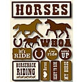 Brown/White Signature Dimensional Horses Stickers (14 Pieces)