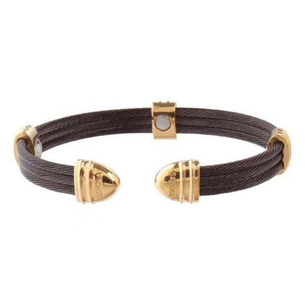 Sabona Classic Cable Black and 18k Gold-plated Magnetic Bracelet
