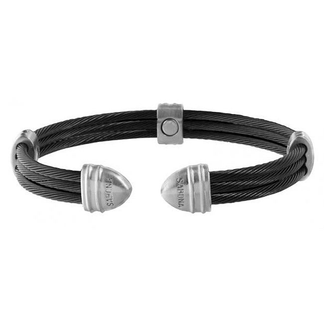 Sabona Classic Cable Black and Satin Stainless Steel Magnetic Bracelet