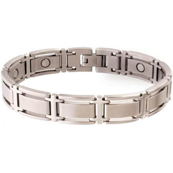 Sabona Executive Symmetry Silvertone Magnetic Bracelet