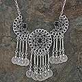 Silverplated Pewter Filigree Wheel Necklace (Turkey)