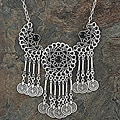 Silverplated Pewter Filigree Wheel Necklace (Turkey)