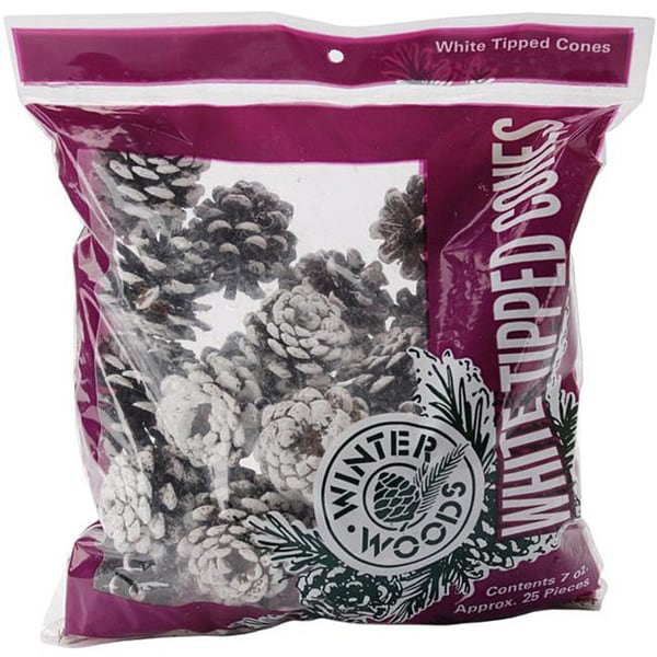 Winter Woods White-tipped Seven-ounce Real Red Pine Cone Multipack