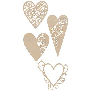 Wooden Fancy Hearts Flourishes (Set of 4)