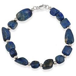 Glitzy Rocks Sterling Silver Lapis Nugget Bracelet