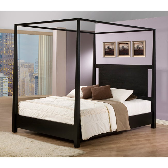 Napa Queen Size Black Canopy Bed Overstock Shopping