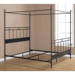 Cara Black Metal Queen-size Canopy Bed