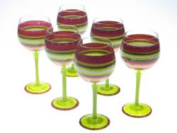 Certified International Hot Tamale Hand-painted Wine Glasses (Set of 6)
